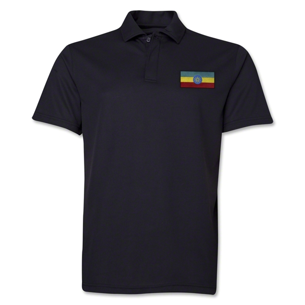 Ethiopia Flag Soccer Polo (Black)