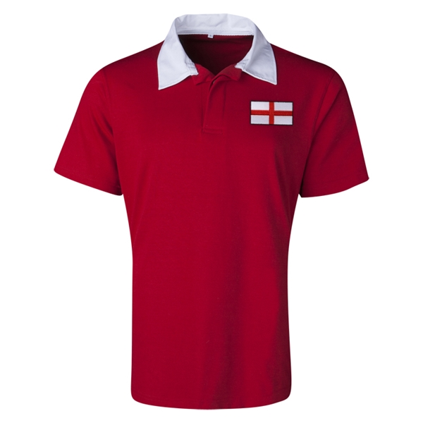 England Flag Retro Rugby Jersey (Red)