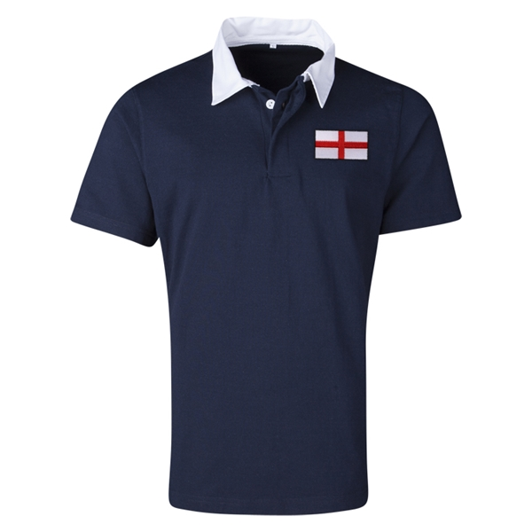 England Flag Retro Rugby Jersey (Navy)
