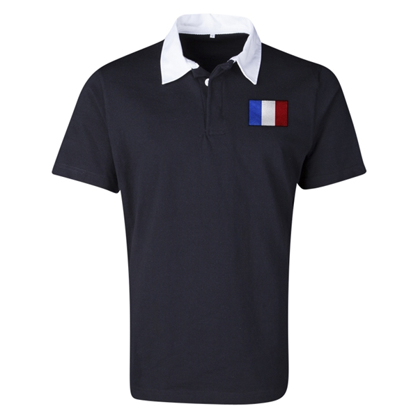 France Flag Retro Rugby Jersey (Black)