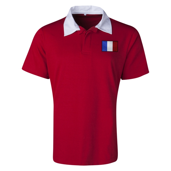 France Flag Retro Rugby Jersey (Red)