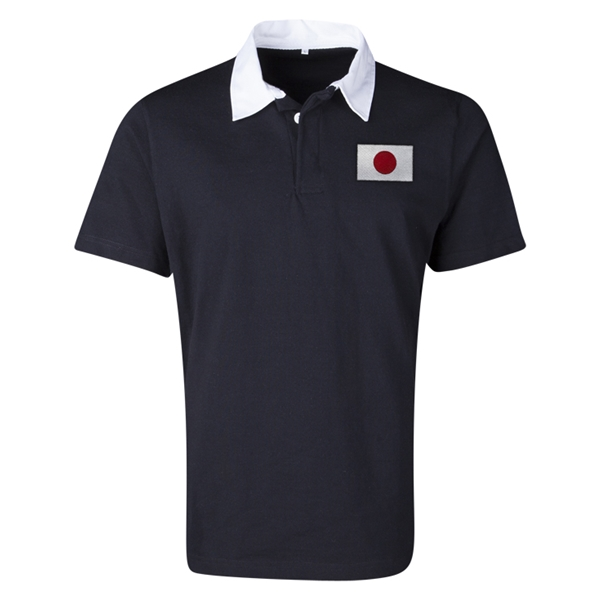 Japan Flag Retro Rugby Jersey (Black)
