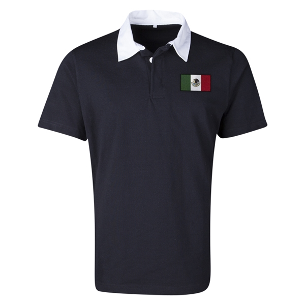 Mexico Flag Retro Rugby Jersey (Black)