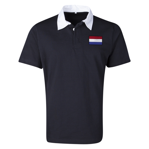 Netherlands Flag Retro Rugby Jersey (Black)