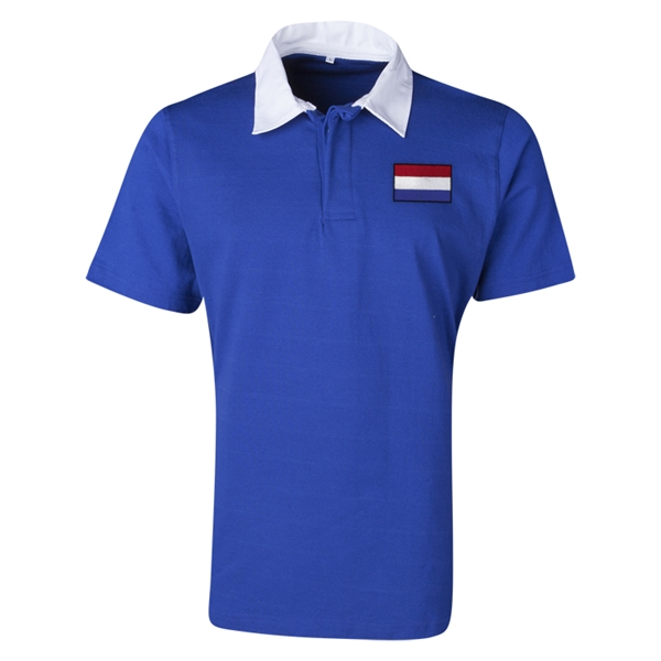 Netherlands Flag Retro Rugby Jersey (Blue)