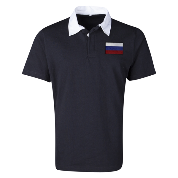 Russia Flag Retro Rugby Jersey (Black)