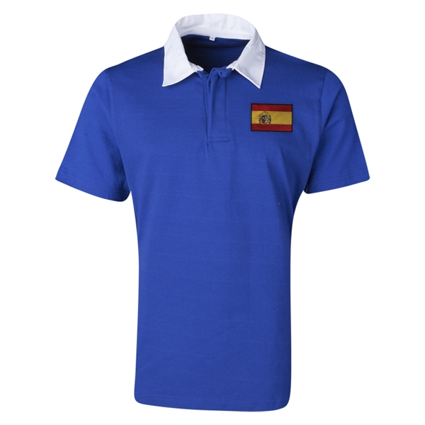 Spain Flag Retro Rugby Jersey (Blue)