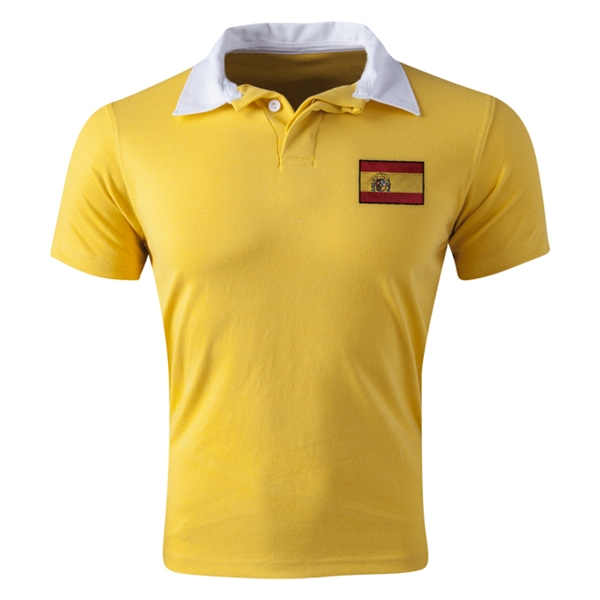 Spain Flag Retro Rugby Jersey (Yellow)