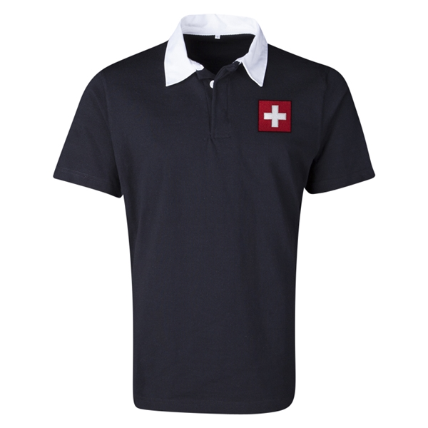 Switzerland Flag Retro Rugby Jersey (Black)