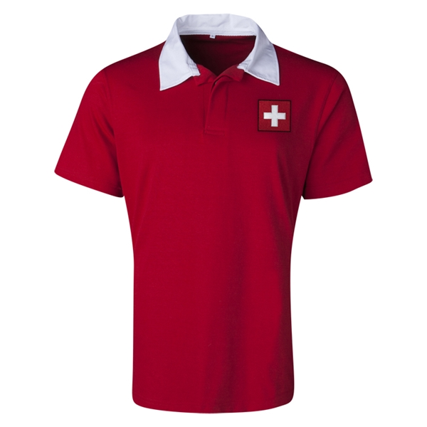 Switzerland Flag Retro Rugby Jersey (Red)