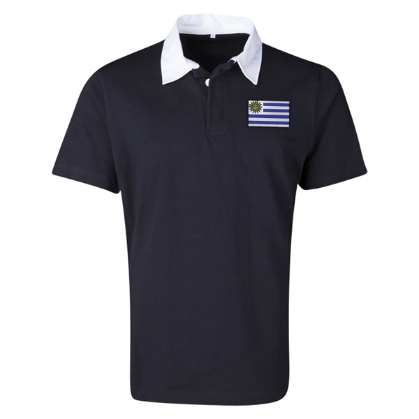 Uruguay Flag Retro Rugby Jersey (Black)