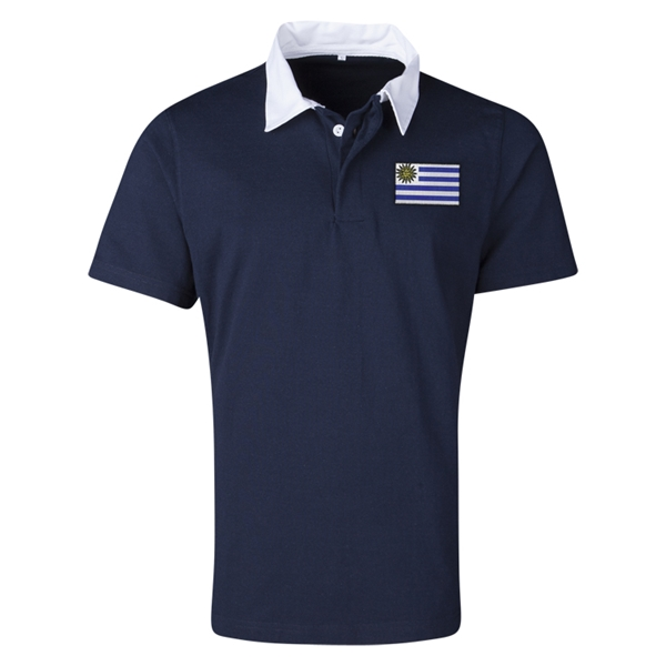 Uruguay Flag Retro Rugby Jersey (Navy)