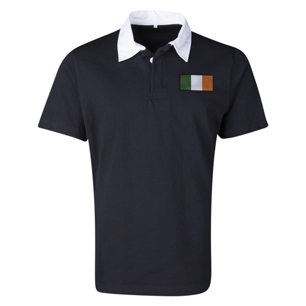 Ireland Flag Retro Rugby Jersey (Black)