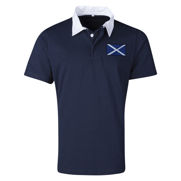 Scotland Flag Retro Rugby Jersey (Navy)