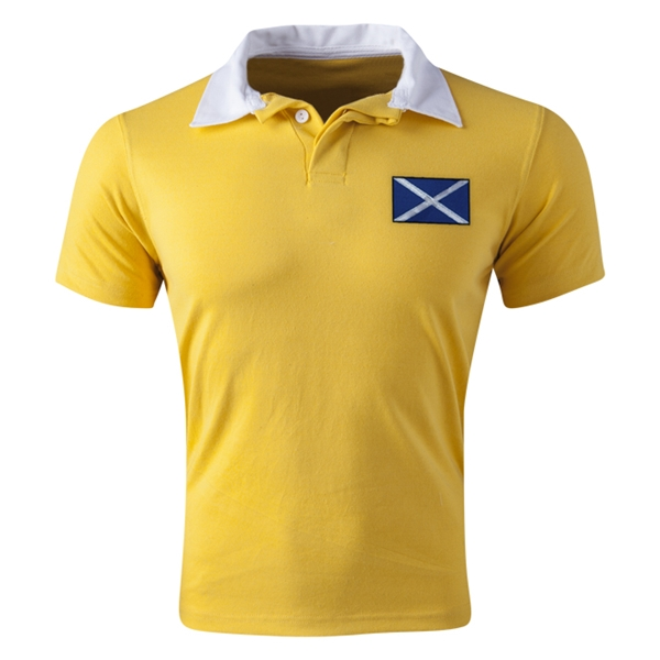 Scotland Flag Retro Rugby Jersey (Yellow)