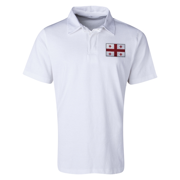 Georgia Flag Retro Rugby Jersey (White)