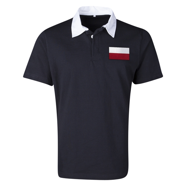 Poland Flag Retro Rugby Jersey (Black)