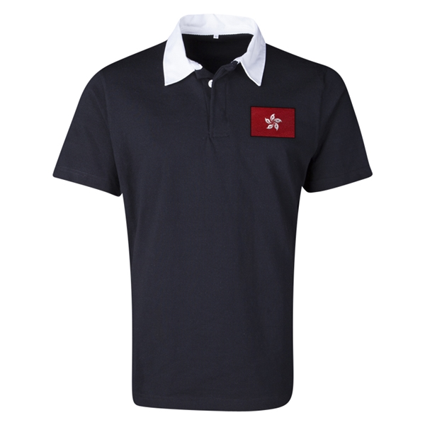 Hong Kong Flag Retro Rugby Jersey (Black)