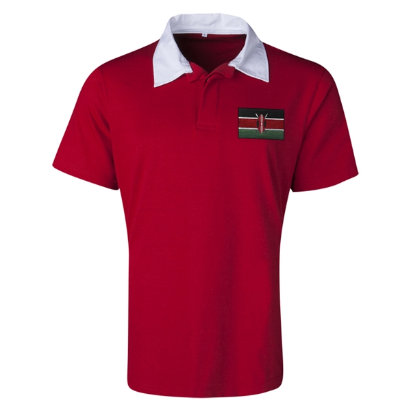 Kenya Flag Retro Rugby Jersey (Red)