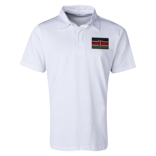Kenya Flag Retro Rugby Jersey (White)
