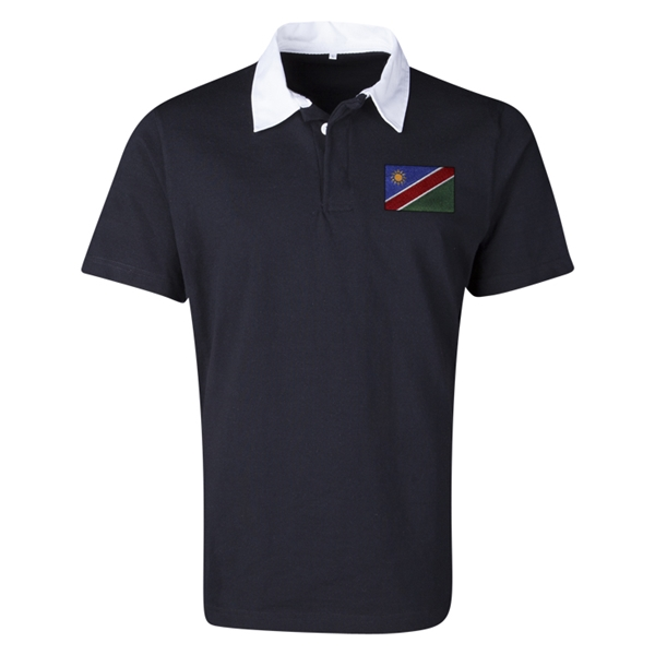 Namibia Flag Retro Rugby Jersey (Black)