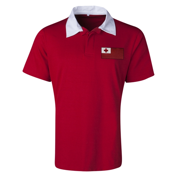 Tonga Flag Retro Rugby Jersey (Red)