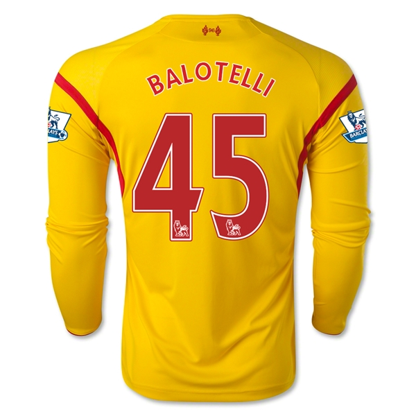 Liverpool 14/15 BALOTELLI LS Away Soccer Jersey