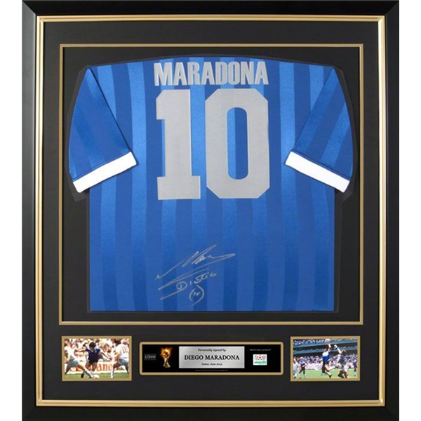 Diego Maradona Signed and Framed Argentina Away Jersey
