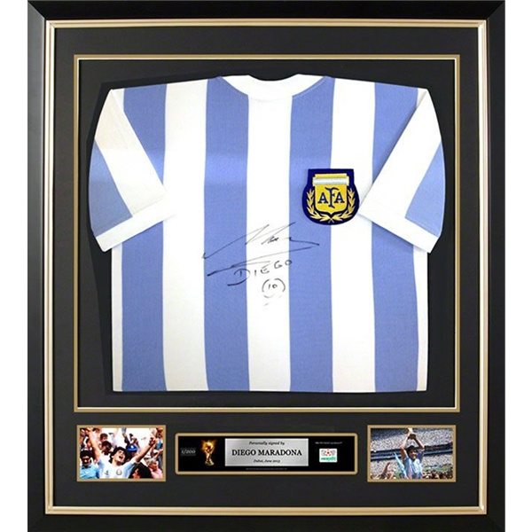 Diego Maradona Front Signed and Framed Argentina Home Jersey