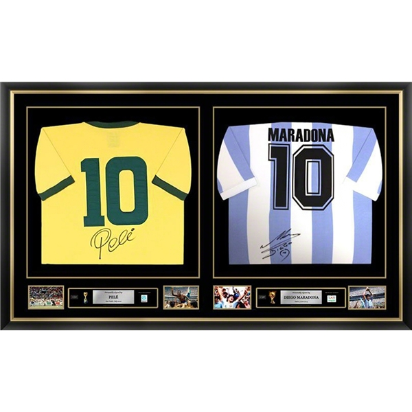 Pele & Diego Maradona Signed and Framed Argentina & Brazil Jerseys
