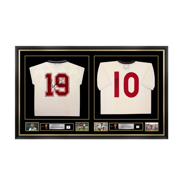 Paul Gascoigne & Gary Lineker Signed and Framed England Jerseys