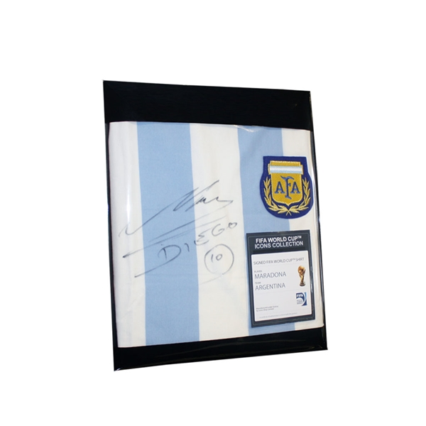 Diego Maradona Front Signed Argentina Home Jersey