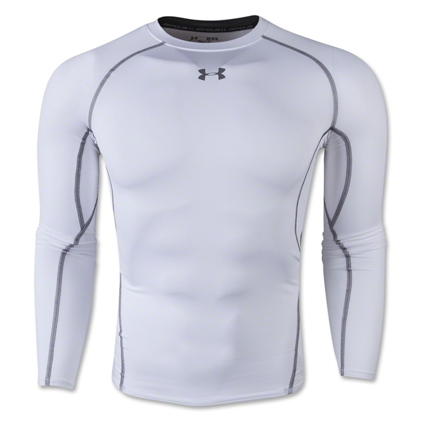 Under armour heatgear compression long sleeve t shirt for Under armour heatgear white shirt
