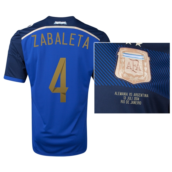 Argentina 2014 ZABALETA 4 World Cup Final Commemorative Soccer Jersey