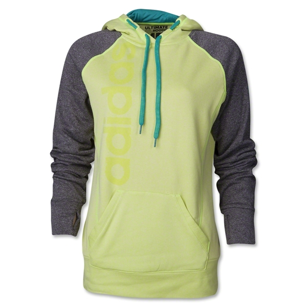 adidas Women's Ultimate Fleece Graphic Pullover (Neon Green)