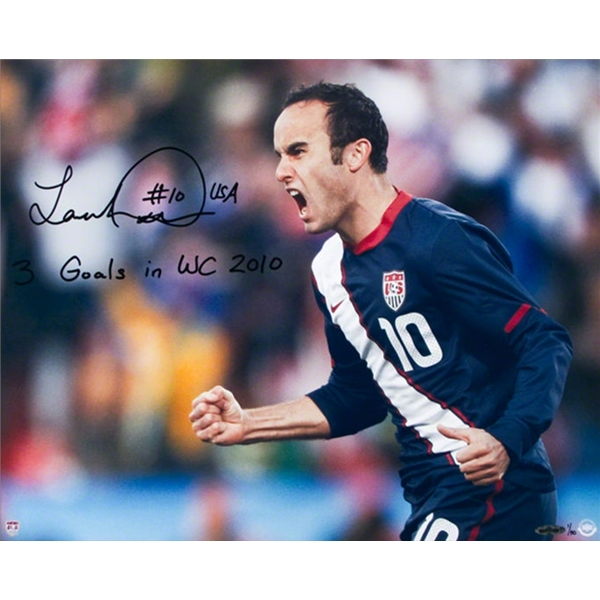 Upper Deck Landon Donovan Autographed Team USA Goal Celebration Photo with Inscript