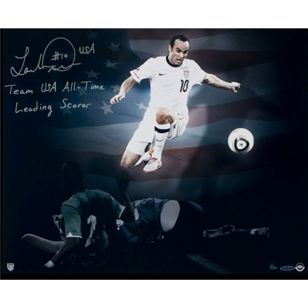 Upper Deck Landon Donovan Autographed USA Stars and Stripes Photo