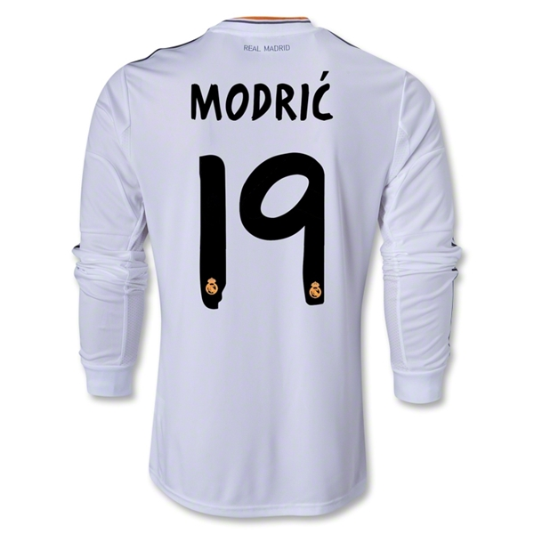 Real Madrid 13/14 MODRIC LS Home Soccer Jersey