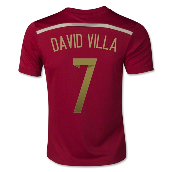 Spain 2014 DAVID VILLA Youth Home Soccer Jersey