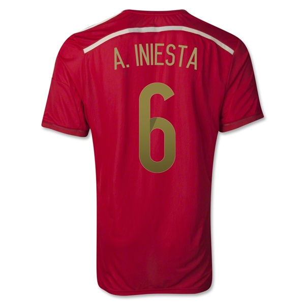 Spain 2014 A. INIESTA Authentic Home Soccer Jersey