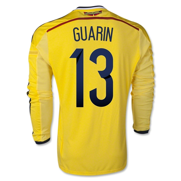 Colombia 2014 GUARIN LS Home Soccer Jersey