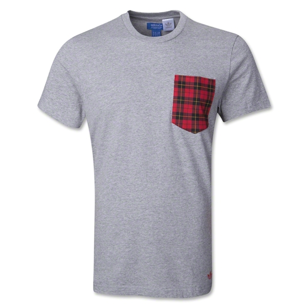 adidas Originals Plaid Pocket T-Shirt (Gray)