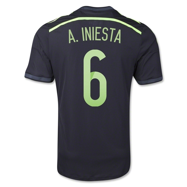 Spain 2014 A. INIESTA Authentic Away Soccer Jersey