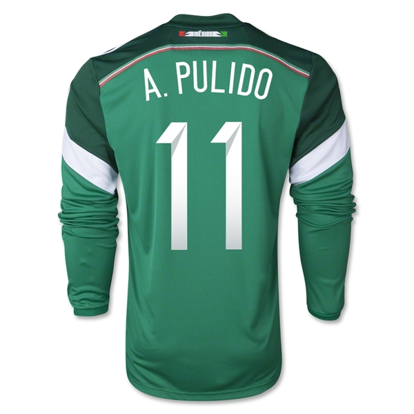 Mexico 2014 A PULIDO LS Home Soccer Jersey