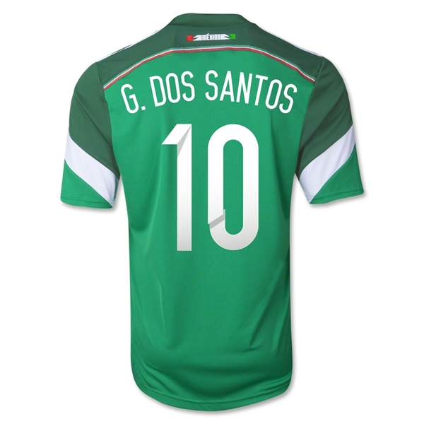 Mexico 2014 G. DOS SANTOS Youth Home Soccer Jersey