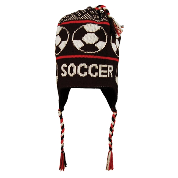 Fleece Lined Soccer Knit Hat (Blk/Red)