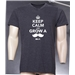 BLK Keep Calm and Grow a Moustache V-Neck T-Shirt (Dark Gray)