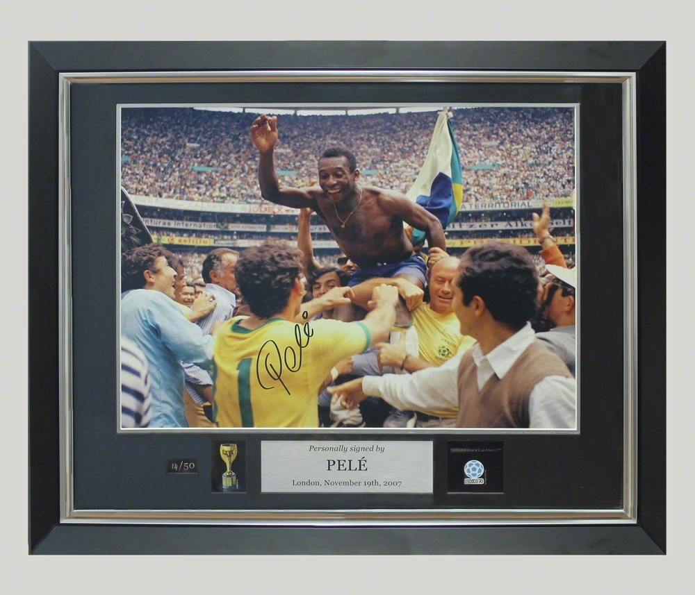 ICONS Pele Signed Photo Winning the World Cup (Framed)